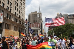 The scene at the 2011 LGBT Pride March. New York City is home to the largest LGBTQ community in the United States and one of the world's largest.[287][288][289]