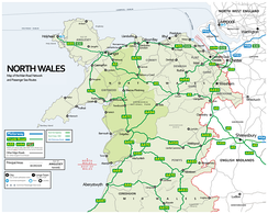 Map of the North Wales road network (and major sea routes)
