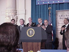 Bill Clinton, Joe Hoeffel, Ron Klink, Ed Rendell, and Chaka Fattah at an event for the U.S. Patients' Bill of Rights