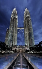 Petronas Towers in Kuala Lumpur, Malaysia, by César Pelli, completed 1999