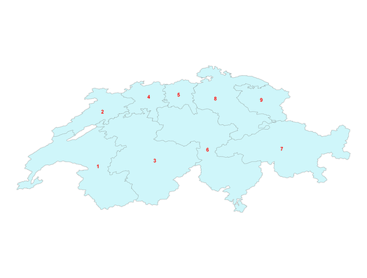 One-digit postcode areas Switzerland, defining the first digit of each four-digit postcode.