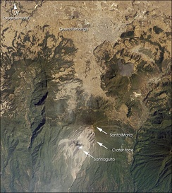 Satellite photo showing Quetzaltenango and Santa Maria volcano