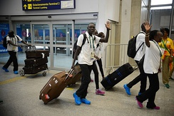Refugee Olympic team arriving in Rio de Janeiro