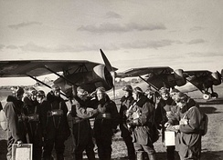 Lithuanian Air Force pilots with their ANBO 41 in Linksmadvaris aerodrome
