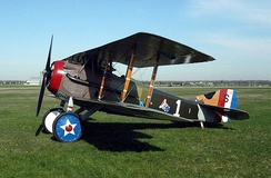 SPAD S.XIII in livery of Capt. Eddie Rickenbacker, 94th Aero Squadron. Note U.S. national insignia painted on wheel hubs.