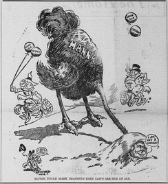 January 1904 political cartoon depicting Hanna hiding from presidential candidacy