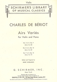 The cover page of an edition of some of Bériot's works distributed by Chappell.