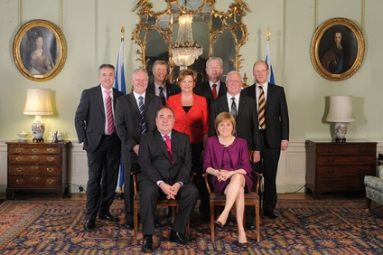 First Minister Alex Salmond and his cabinet in the Drawing Room, 2011