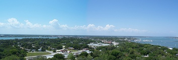 View of St. Augustine from the top of the lighthouse on Anastasia Island