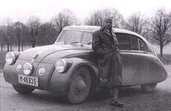 Erich Übelacker with Tatra 77a coupe, 1935