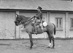 A British cavalry trooper in marching order (1914–1918)