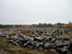 Thousands of scattered rocks litter the landscape. In the distance, leaves of trees are slowly turning yellow. It is the site of a Winter War monument at Suomussalmi, Finland, containing a rock for every soldier who died at the Battle of Suomussalmi: 750 Finnish and an estimated 24,000 Soviet.