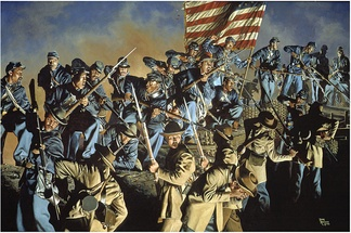 Depiction of the battle in the painting The Old Flag Never Touched the Ground