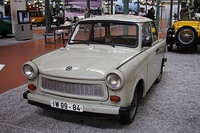 A Trabant 601 Limousine (left), manufactured between 1964 and 1989; and a Wartburg 353 (right), manufactured between 1966 and 1989; they were made in East Germany and exported throughout the Eastern Bloc