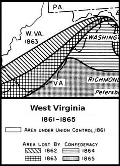Union and Confederate territorial losses in West Virginia 1861-1865