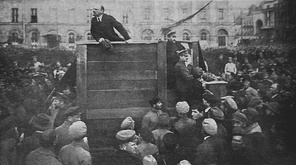 Vladimir Lenin, Chairman of the Council of People's Commissars of the Russian SFSR, delivers a speech to motivate troops to fight on the Polish–Soviet War. May 5, 1920.
