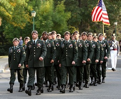 The Ranger Honor Platoon marching in the former service uniform