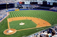 The old Yankee Stadium with batter's eye visible on upper right above the center field fence