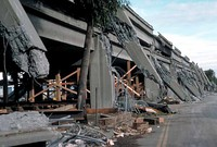 The Cypress Street Viaduct's collapsed upper deck and failed support columns