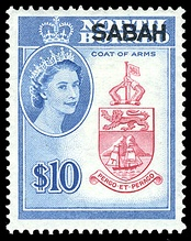 Postage stamp of the North Borneo Crown with portrait of Queen Elizabeth II in 1964.[note 2]