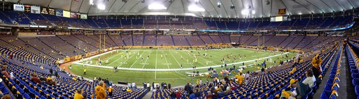 The Metrodome in 2008, before the 91st battle for the Little Brown Jug rivalry game between the Minnesota Golden Gophers and Michigan Wolverines.