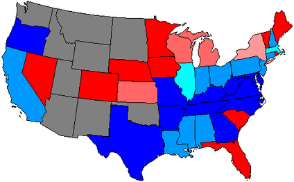 House seats by party holding plurality in state      80+% Democratic    80+% Republican     60+ to 80% Democratic    60+ to 80% Republican     Up to 60% Democratic    Up to 60% Republican