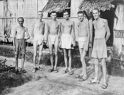 Liberated Dutch prisoners in Indonesia (Dutch East Indies) in 1945