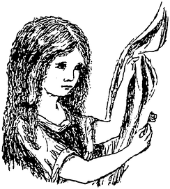 Head and shoulders drawing of a girl (Alice) holding a key