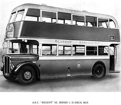 The solitary pre-war RT-type built for provincial market. It was operated by Glasgow Corporation. (AEC brochure 1947)