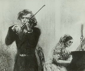 Joachim and Clara Schumann (1854), drawing by Adolph Menzel