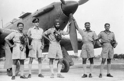 World War II photo: Arjan Singh (middle) as Flight Lieutenant. He went on to become Marshal of the Air Force.