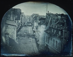 'Barricades on rue Saint-Maur' (1848), the first photo used to illustrate a newspaper story
