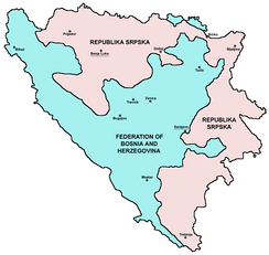 Political division of Bosnia and Herzegovina after the Dayton Agreement.