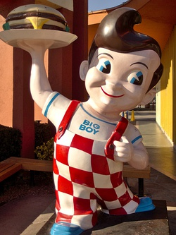 "American chain Big Boy Restaurants feature statues of their advertising mascot, ""Big Boy"", at many of their locations."