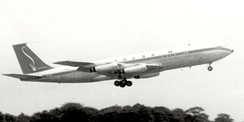 Early production Boeing 707–329 of Sabena in April 1960 with the original short tail-fin and no ventral fin