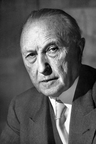 Adenauer in 1952; he forged close ties with France and the U.S. and opposed the Soviet Union and its satellite of East Germany