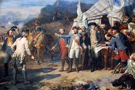 Siege of Yorktown Generals Washington and Rochambeau give last orders before the attack.