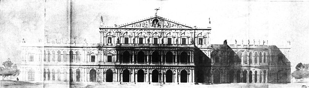Entrance elevation of a project for the Théâtre Impériale de l'Opéra by Rohault de Fleury, November 1860