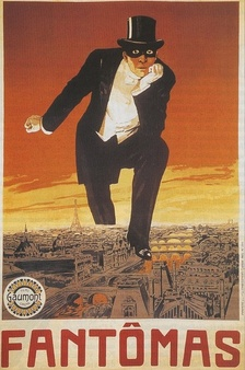 A poster for the first Fantômas serial by Louis Feuillade. In the original illustration for the first Fantômas book cover, the character holds a bloody dagger in his free hand.It was also used for the DVD box cover, but this time Fantômas stamps over a photo of modern-day Paris.