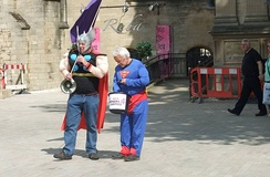 Fathers 4 Justice protesters dressed as the comic-book characters Thor and Superman - Peterborough, June 2010