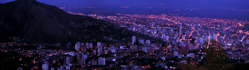 A panoramic showing of Cali, main city in western Colombia, where salsa is very popular.[101][102][103]