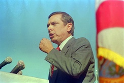 Martinez gives his inauguration speech, on January 6, 1987.