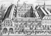 17th-century etching of the Oost-Indisch Huis (East India House), the global headquarters of the VOC.