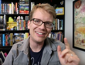 Green addressing the camera in a vlog component of a 2016 Vlogbrothers video.
