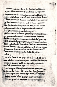 A page from Hemming's Cartulary, an 11th-century manuscript.
