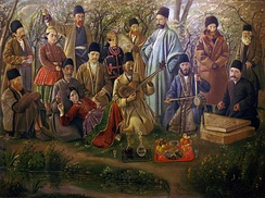 A musical ensemble from the time of Qajar ruler Naser-ed-Din Shah, depicted by Kamal-ol-molk.
