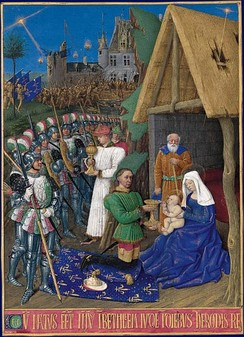 Charles VII depicted by Jean Fouquet as one of the three Magi.