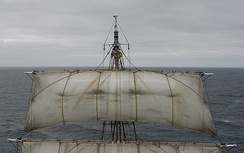 The leechlines are clearly visible running inwards and upwards from the edges of the sail. The buntlines up the front of the sail can be seen too, but their run to the blocks on the shrouds is obscured because the sail is set on a lifting yard.