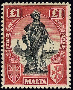Personification of Melita on a one-pound colonial-era stamp, 1922