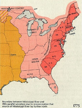 1763 Proclamation Line of 1763 by George III to limit colonial western settlement. The Province of Quebec lies north of the Ohio River, west of Lake Erie and the west boundary of Pennsylvania. The Indian Reserve lies west of modern Roanoke Virginia, generally following the Eastern Continental Divide.